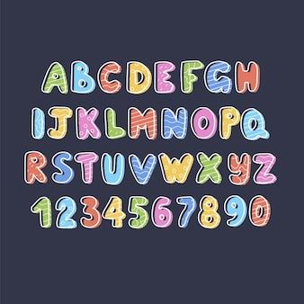 Hand gezeichnetes alphabet, buchstaben und zahlen, illustration