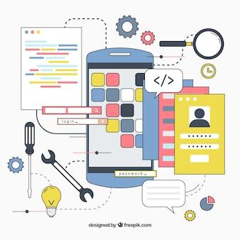 Hand gezeichnetes app-entwicklungskonzept