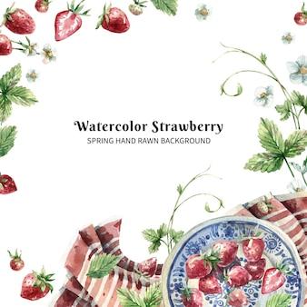 Hand gezeichnetes aquarell mit einem teller erdbeeren