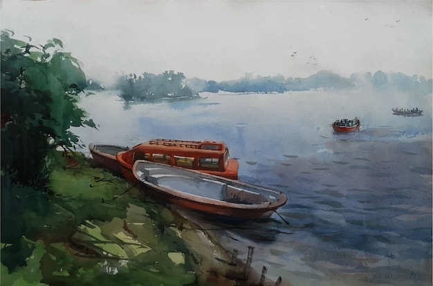 Hand gezeichnetes aquarell-schnellboot auf dem meer