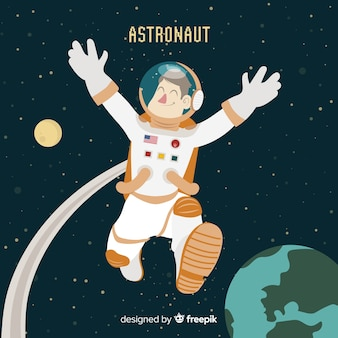 Hand gezeichnetes astronautecharakter im raum