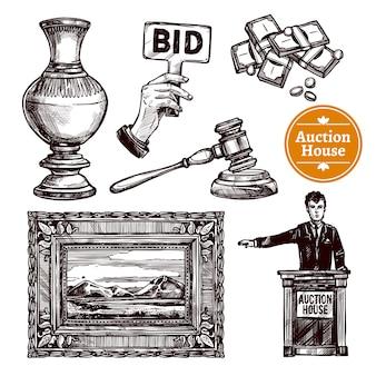 Hand gezeichnetes auktions-set
