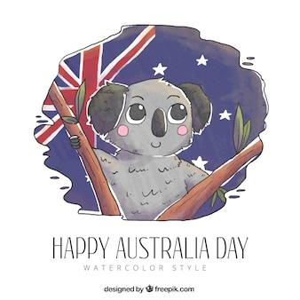 Hand gezeichnetes australien-tagesdesign mit koala