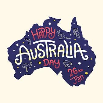Hand gezeichnetes australien-tageskonzept