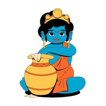 Hand gezeichnetes baby krishna, das butterillustration isst