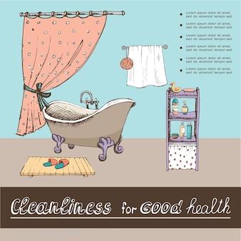 Hand gezeichnetes badezimmerinnenplakat mit badewannenvorhang-handtuchpantoffeln gummiente-seifenduschgel und shampooflaschen