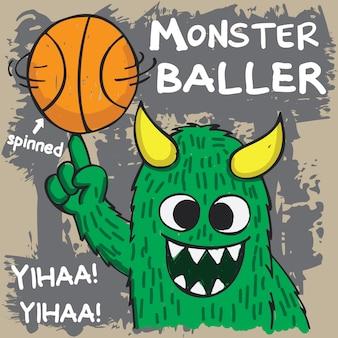 Hand gezeichnetes basketballballermonster