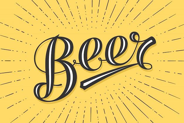 Hand gezeichnetes beschriftungsbier auf gelbem hintergrund. bunte weinlesezeichnung für bar-, kneipen- und trendige bierthemen. druck für poster, menü, aufkleber, t-shirt. illustration
