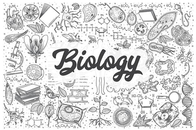 Hand gezeichnetes biologie-gekritzel-set. schriftzug - biologie