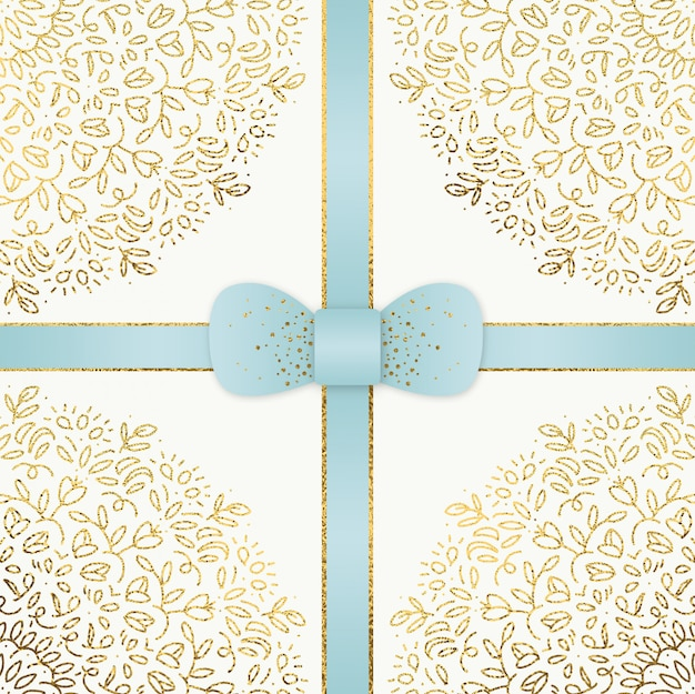 Hand gezeichnetes blau und goldweihnachten backgorund