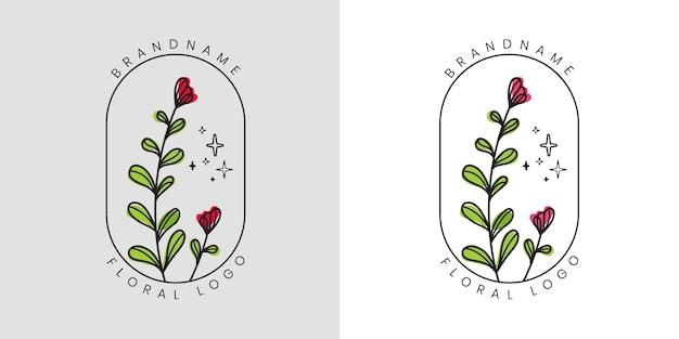 Hand gezeichnetes blumenlogo der weiblichen schönheit mit blumen und blättern