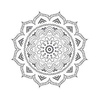 Hand gezeichnetes blumenmandala für malbuch. ethnisches schwarzweiss-henna-muster. indisches, asiatisches, arabisches, islamisches, osmanisches, marokkanisches motiv.
