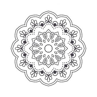 Hand gezeichnetes blumenmandala für malbuch.