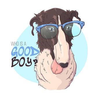 Hand gezeichnetes borzoi-hundeporträt mit zubehör