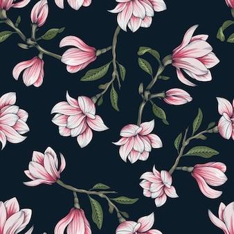 Hand gezeichnetes botanisches nahtloses blumenmuster mit magnolienblumenzweig