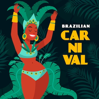 Hand gezeichnetes brasilianisches karnevalskonzept