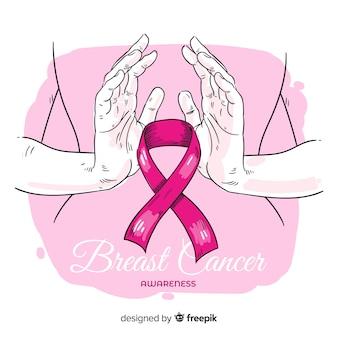 Hand gezeichnetes brustkrebsbewusstsein mit band