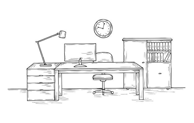Hand gezeichnetes büro. skizzenschreibtisch mit stuhlcomputer und lampe.