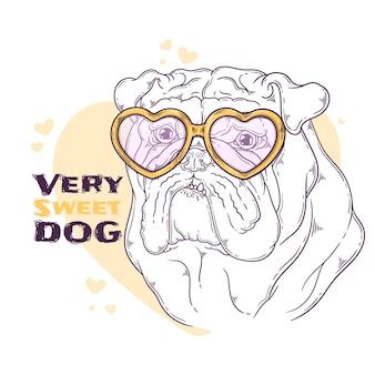 Hand gezeichnetes bulldoggenporträt mit zubehör