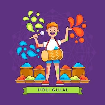 Hand gezeichnetes buntes holi gulal mit mann und trommel