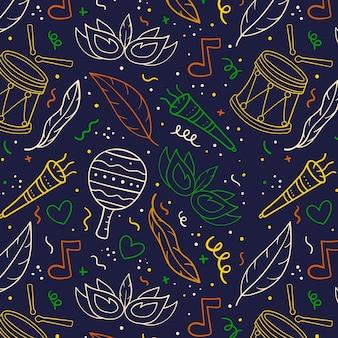 Hand gezeichnetes buntes karnevalsmuster