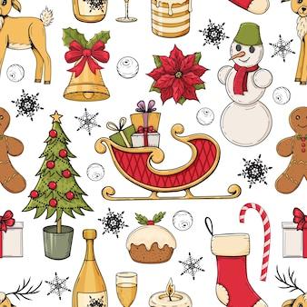 Hand gezeichnetes buntes nahtloses muster mit weihnachtselementen auf weißem hintergrund.