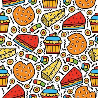 Hand gezeichnetes cartoon-dessert-gekritzelmuster