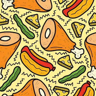 Hand gezeichnetes cartoon-food-doodle-muster