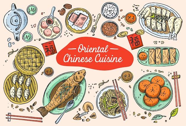 Hand gezeichnetes chinesisches essen