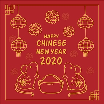 Hand gezeichnetes chinesisches konzept des neuen jahres