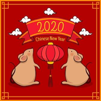 Hand gezeichnetes chinesisches neues jahr