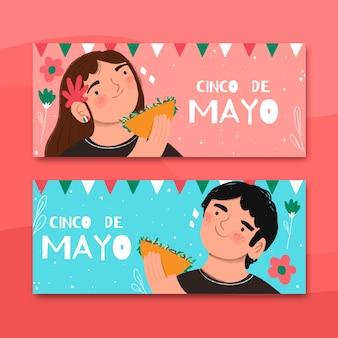 Hand gezeichnetes cinco de mayo-banner mit leuten
