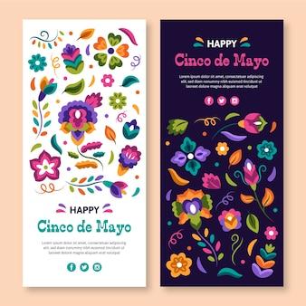 Hand gezeichnetes cinco de mayo-bannerset