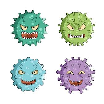 Hand gezeichnetes coronavirus mit gesichtsausdrücken