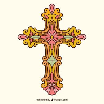 Hand gezeichnetes dekoratives kreuz