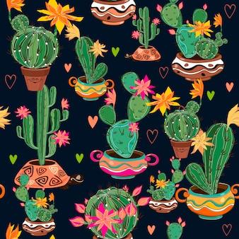 Hand gezeichnetes dekoratives nahtloses muster mit kaktus.