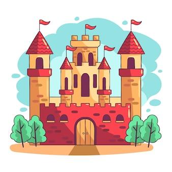 Hand gezeichnetes design des märchenschlosses