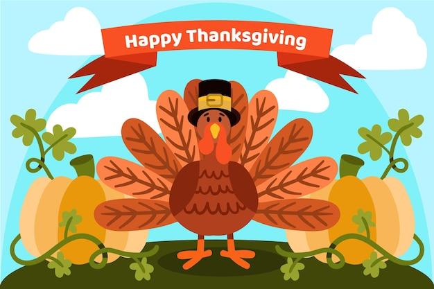 Hand gezeichnetes design des thanksgiving-hintergrunds