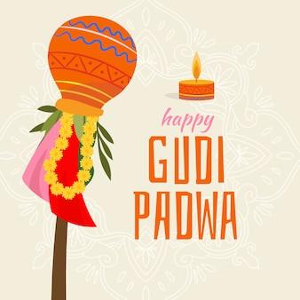 Hand gezeichnetes design für gudi padwa mit kerze Kostenlosen Vektoren