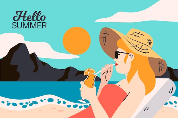 Hand gezeichnetes design hallo sommer