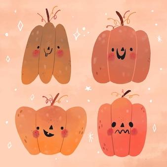 Hand gezeichnetes design halloween kürbisset