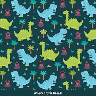 Hand gezeichnetes dinosauriermuster