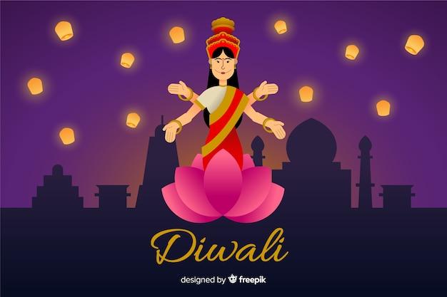 Hand gezeichnetes diwali hintergrunddesign