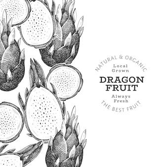 Hand gezeichnetes drachenfruchtdesign organische frische lebensmittelillustration.