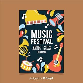 Hand gezeichnetes dunkles musikfestivalplakat