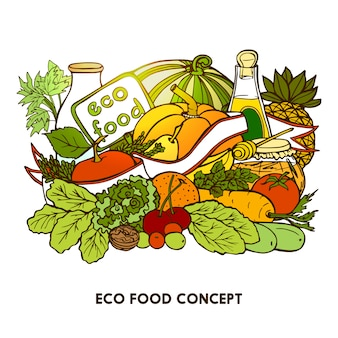 Hand gezeichnetes eco-lebensmittel-konzept