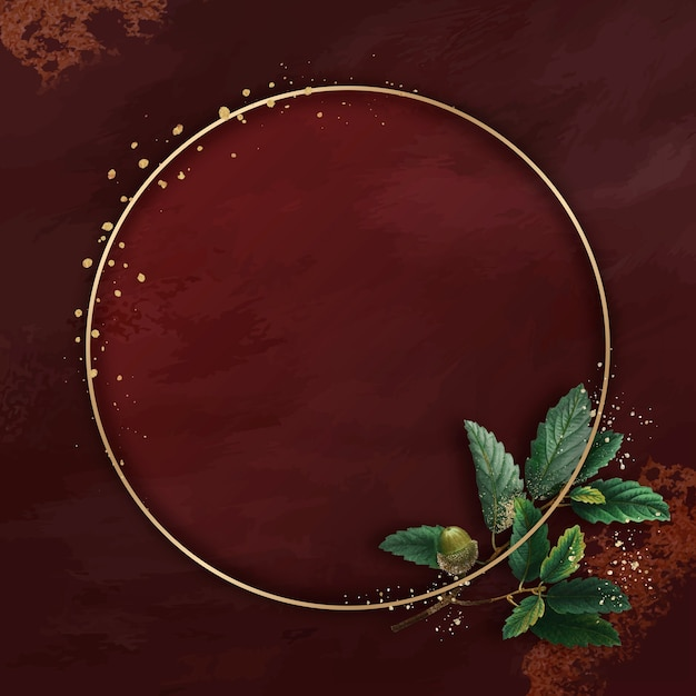 Hand gezeichnetes eichenblatt mit rundem goldrahmen auf rotem hintergrund