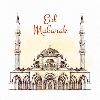 Hand gezeichnetes eid mubarak konzept