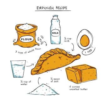 Hand gezeichnetes empanada-rezept