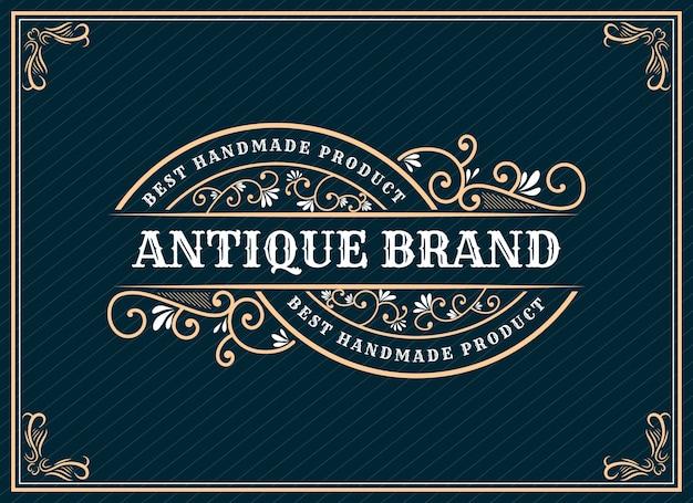 Hand gezeichnetes erbe luxus vintage retro logo design mit dekorativen rahmen für text und schrift schaufenster premium